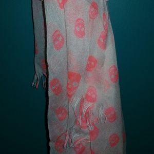 Accessories - White and pink skull scarf